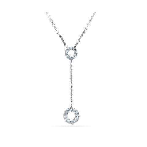14k and 18k Gold The long chain Circle Diamond Pendant in Prong setting online for women