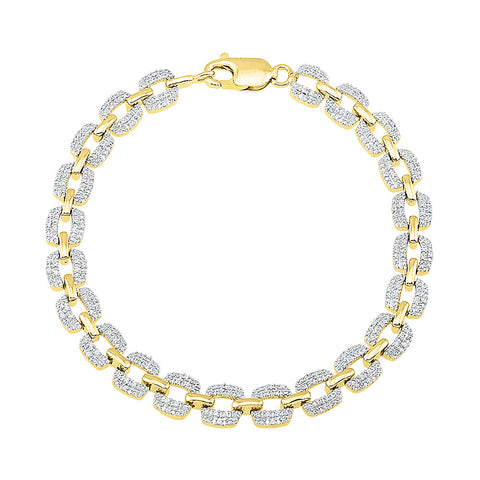 heavily diamond studded bracelet for wife  in white and yellow gold