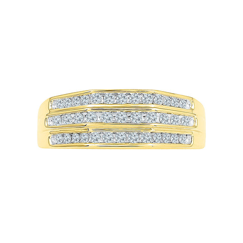 Three Row Diamond Ring For Men