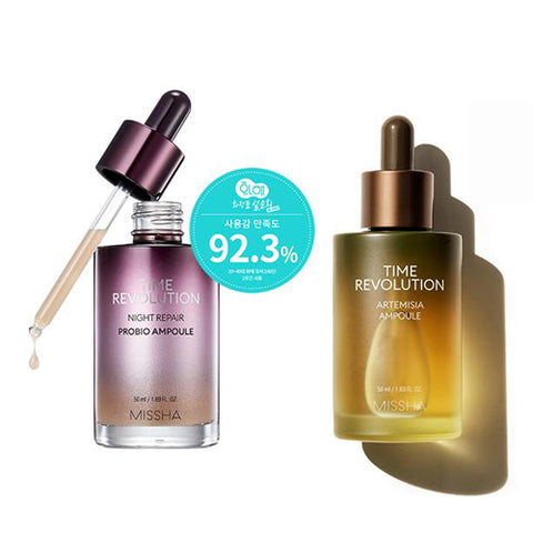[SET] [Missha] Time Revolution Night Repair Probio Ampoule 50ml+ Time Revolution Artemisia Ampoule 50ml