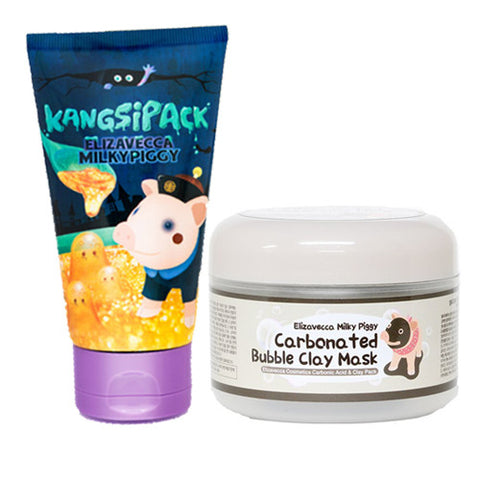 [SET] [Elizavecca] 24 Gold Kangsi Pack 120ml +Milky Piggy Carbonated Bubble Clay Mask 100g - Cosmetic Love