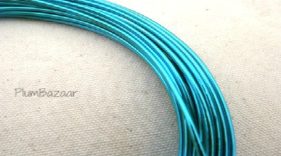 12 gauge aluminum craft and jewelry wire, 2mm round, 39 ft., turquoise blue