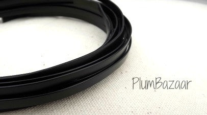 Aluminum wire for jewelry or crafts, 5mm flat, 24 ft. coil, black