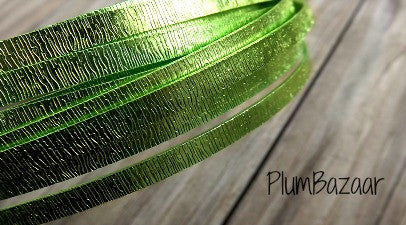 Aluminum wire for jewelry or crafts, 5mm flat embossed, 16 ft. coil, light green