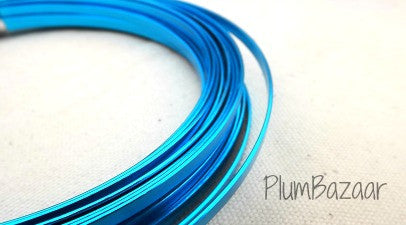 Aluminum wire for jewelry or crafts, 5mm flat, 24 ft. coil, turquoise