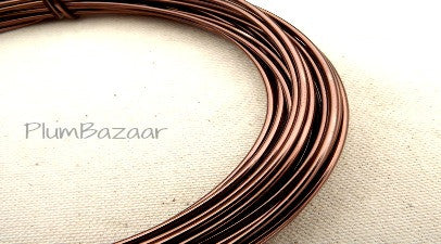 12 gauge aluminum craft and jewelry wire, 2mm round, 39 ft., brown