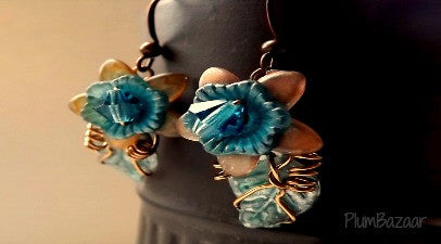 Delicate wire wrapped earrings with crystals and hand painted flowers in mocha and teal