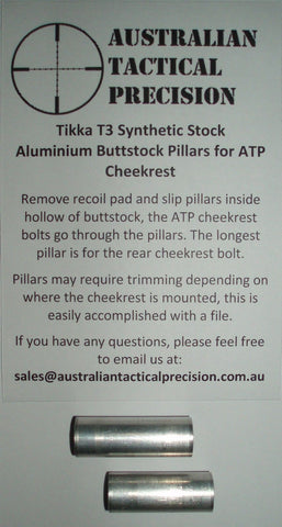 Aluminium Buttstock Pillars for the ATP Cheekrest to suit Tikka T3 Synthetic Stock - Australian Tactical Precision