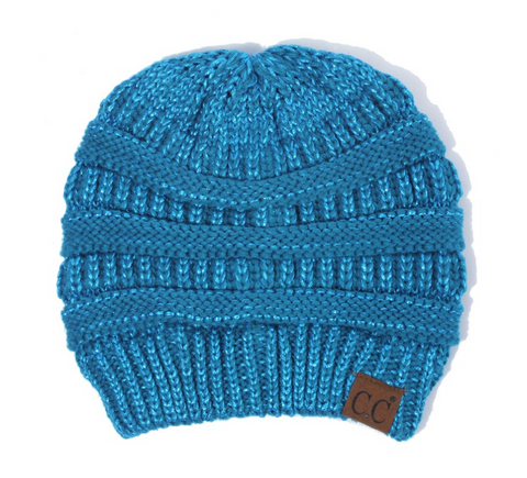 Hat-cable knit 4 tone variegated color beanie