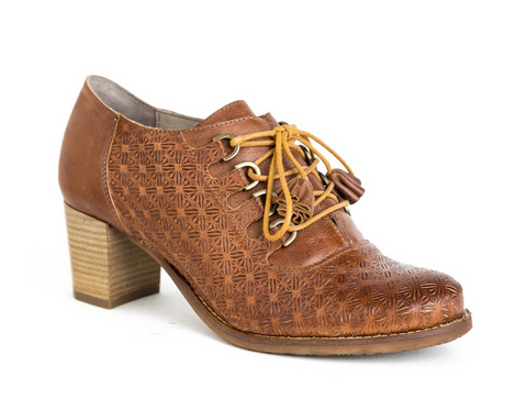 Cognac Laser-Cut Leather Shoe