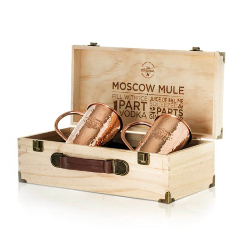 Two 100% Original Hammered Moscow Copper Co. mugs in a beautiful pine gift box.