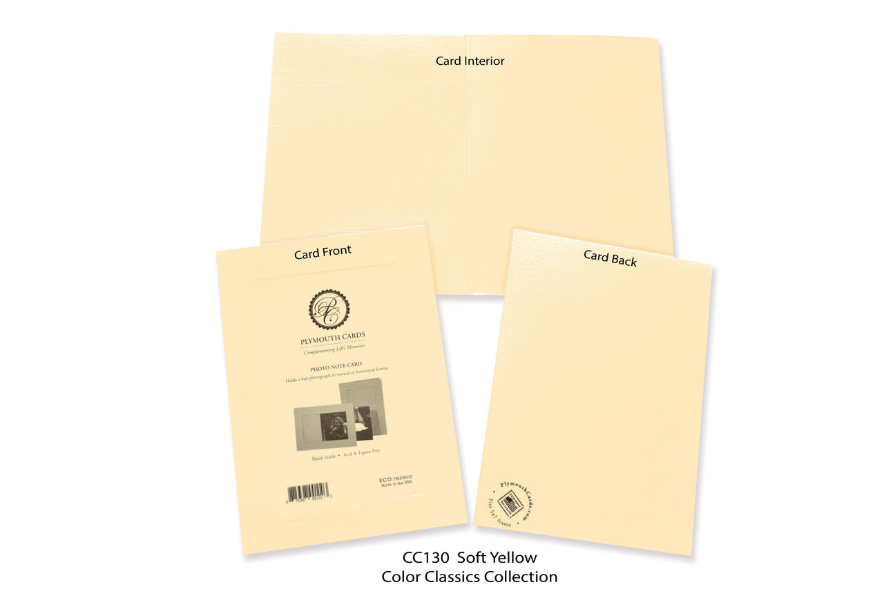 Soft Yellow Photo Insert Note Cards - Color Classics collection (color #CC130)