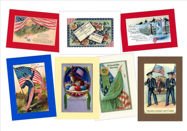 "Patriotic All Holidays ""Greetings from the Past"" Sampler - PLYMOUTH CARD COMPANY  - 1"