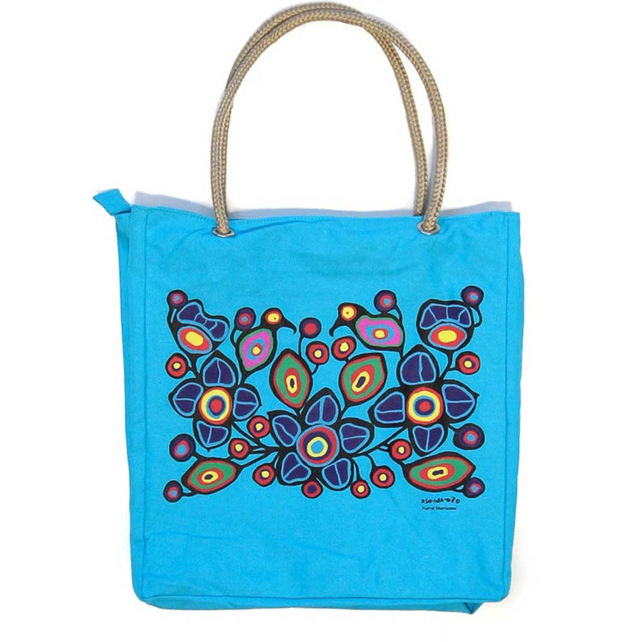 'Flowers & Birds' Eco-Cotton Tote by Norval Morrisseau