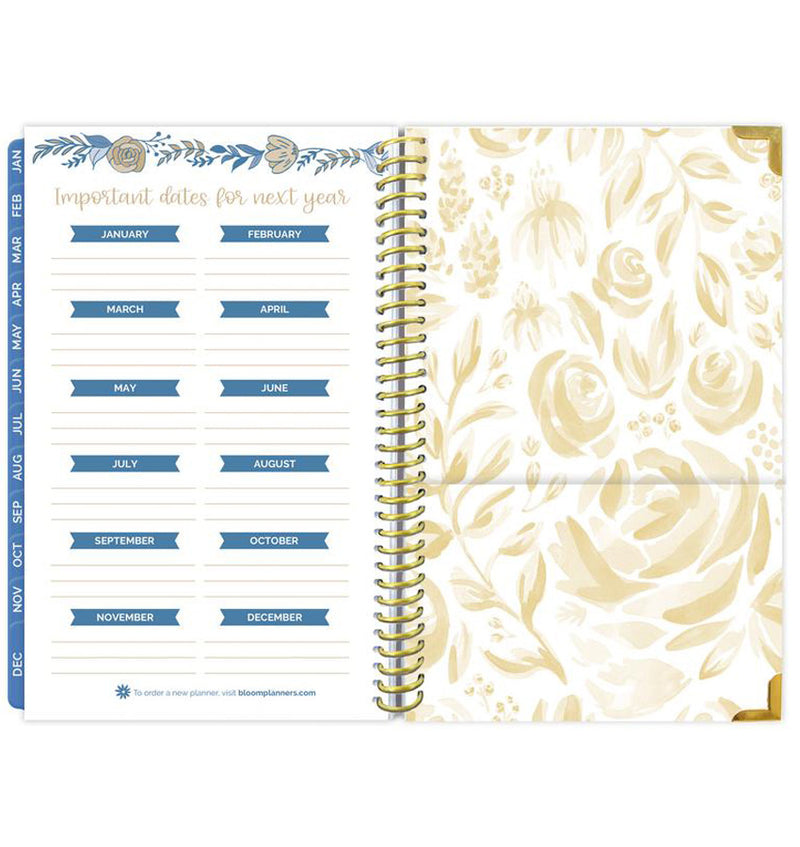 Bloom Blue Floral Daily To Do List Hardcover Planner Undated Important Dates Pages
