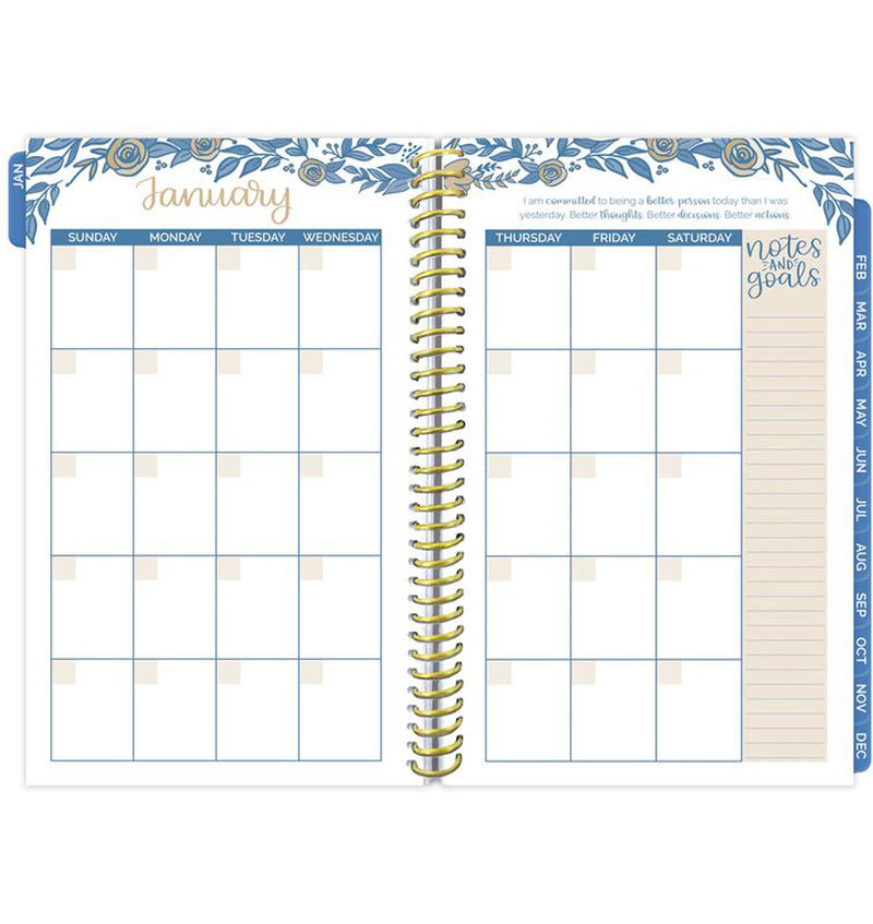 Bloom Blue Floral Daily To Do List Hardcover Planner Undated Monthly View