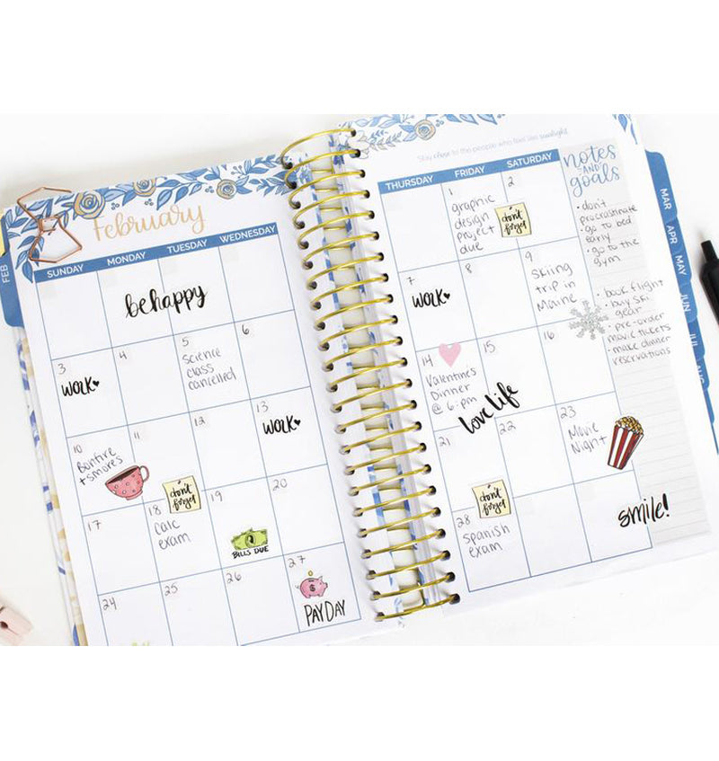 Bloom Blue Floral Daily To Do List Hardcover Planner Undated Monthly View with Writings, Text and Planner Stickers