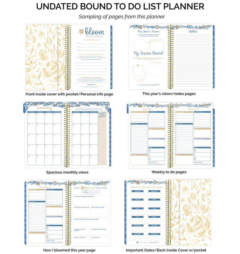Bloom Blue Floral Daily To Do List Hardcover Planner Undated Bound To Do List Planner