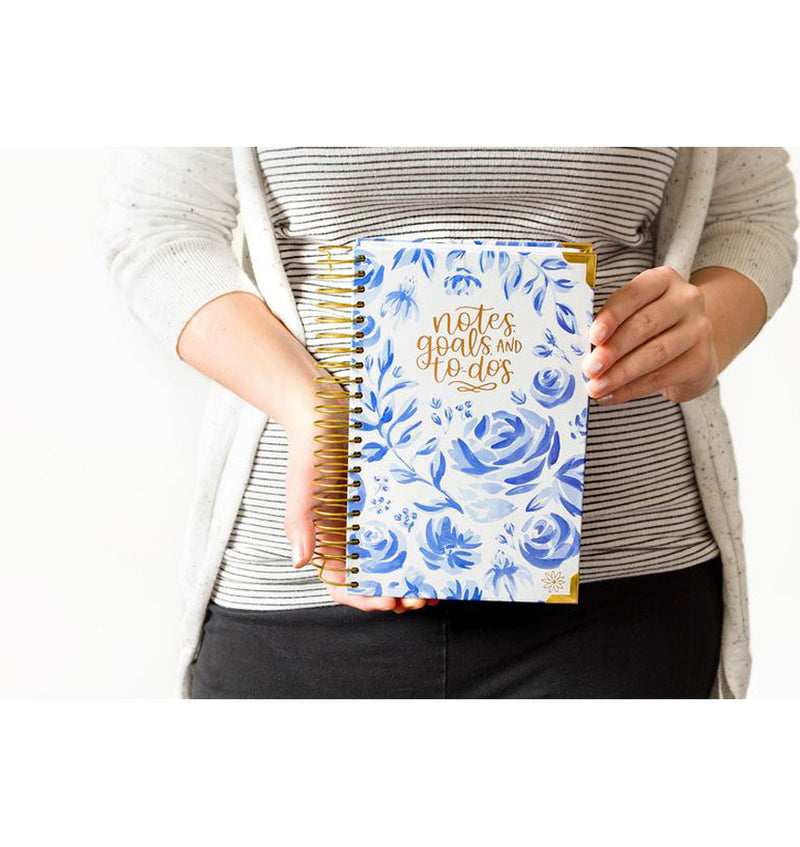 Lady Holding Bloom Blue Floral Daily To Do List Hardcover Planner Undated