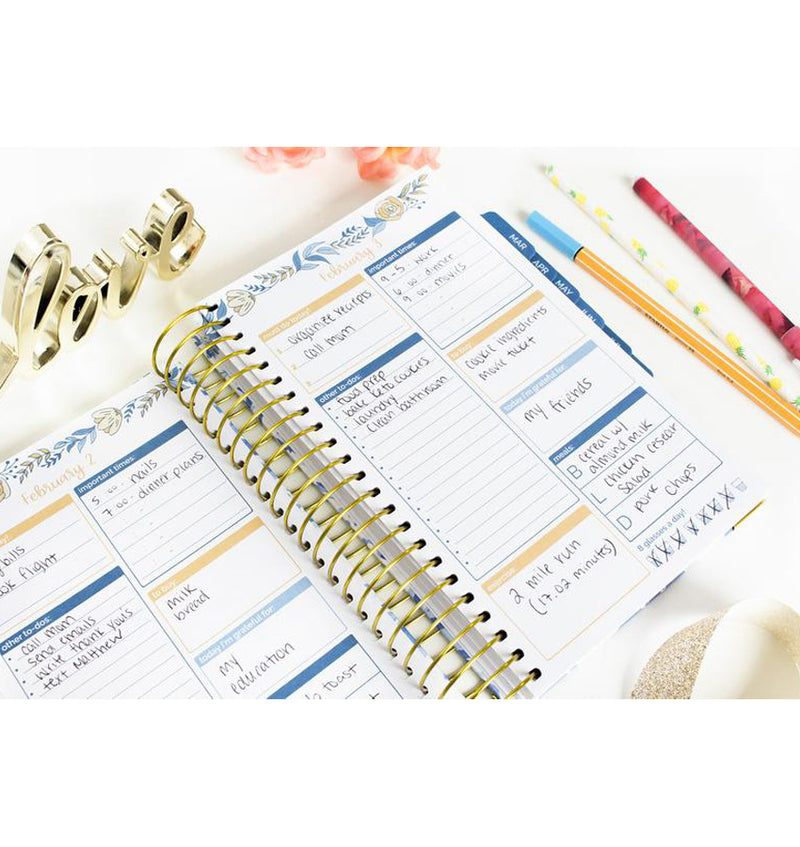 Bloom Blue Floral Daily To Do List Hardcover Planner Undated Daily View with Writings