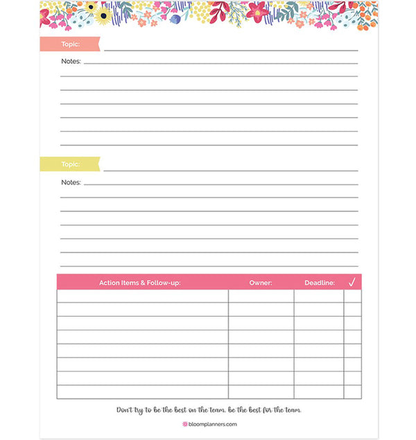"Bloom's Meeting Notes Planning Pad 8.5"" x 11"" Double Sided (60 Sheets) Back"