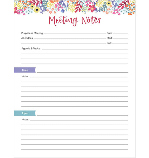 "Bloom's Meeting Notes Planning Pad 8.5"" x 11"" Double Sided (60 Sheets) Front"