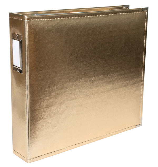 "We R Memory Keepers 12"" x 12"" Classic Leather, Gold Three Ring Album Side View with Metal Accent at Craftforher"