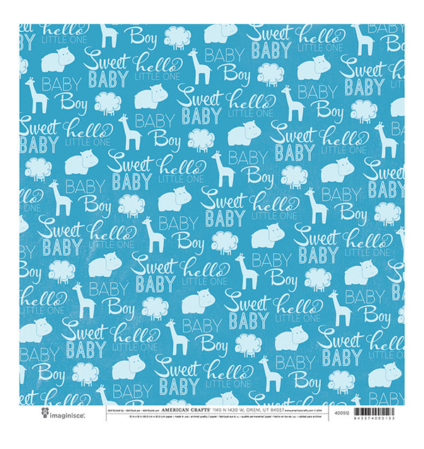 American Crafts Sweet Baby Boy 12 x 12 Double Sided Paper Front