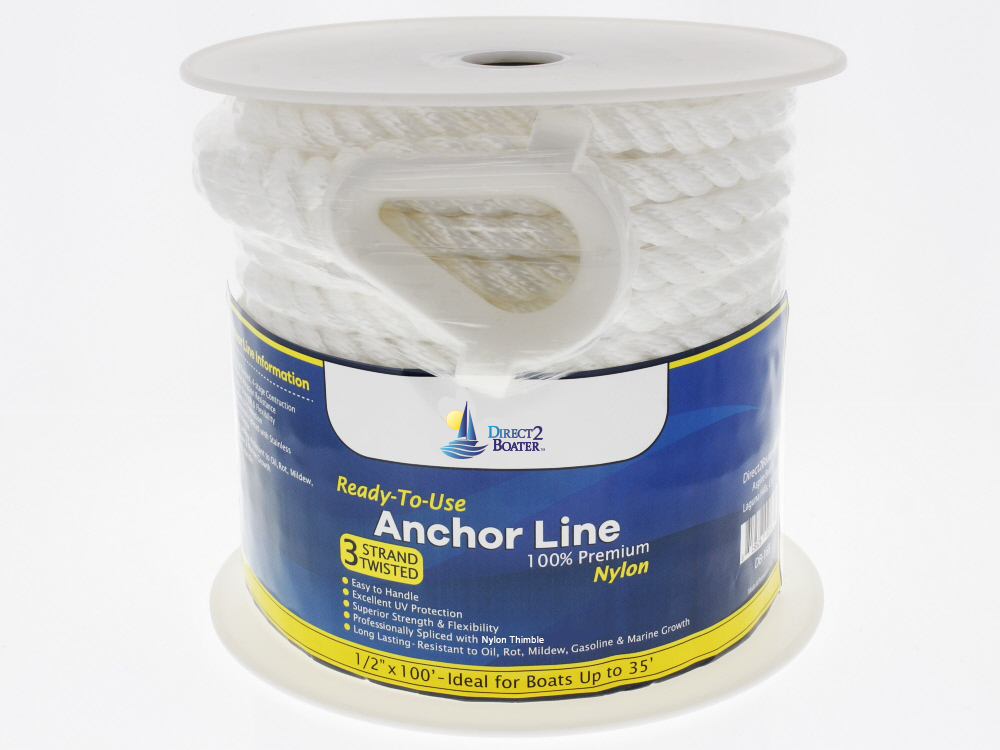 "1/2"" x 100' White 3 Strand Twisted Nylon Anchor Line"