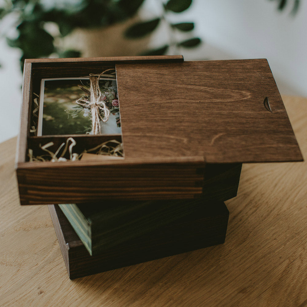 Square wooden box for 5x7 prints & USB - set of 5 pcs