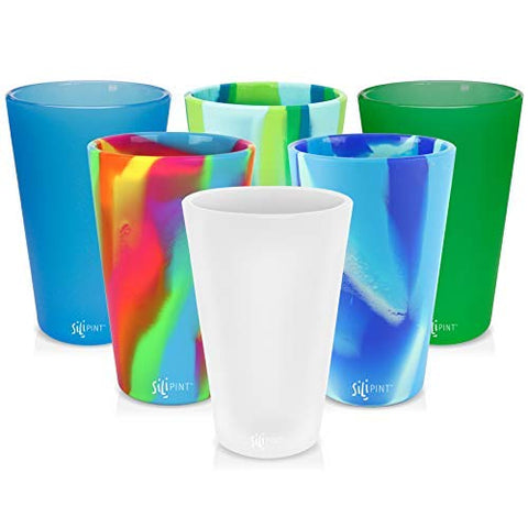 Silipint Silicone Pint Glass Set of 6, Patented, BPA-Free, Shatter-proof, Unbreakable Silicone Cup Drinkware - One of Each - Frosted White, Bend Blue, Hippy Hops, Sea Swirl, Emerald Green, Arctic Sky 6-Pack Tie-Dye w/ Solid Mix