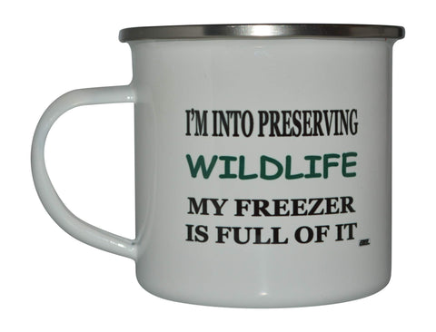 Funny Hunting Camp Mug Enamel Camping Coffee Cup Gift Preserving Wildlife Hunter Hunt