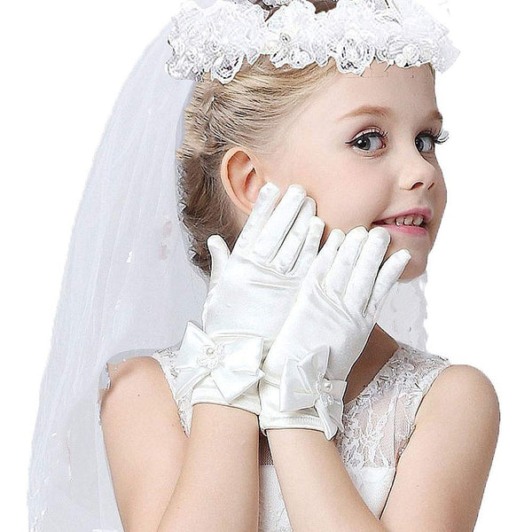 Girls Veil First Communion, First Holy Communion Veils And Gloves For Girl White