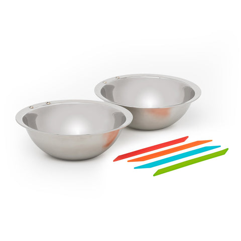 Solo Stove Flex Strap Bowls (2 Bowl Set) - Stainless Steel Camping Bowls with 4 Flex Straps.