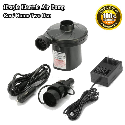 iPstyle Portable Electric Air Pump Car/Home Two Use Air Compressor Pump Fast Inflate Travel Inflator Deflator for Pools, Boats, Airbeds, Inflated Toy Input DC12V/AC110V 50W