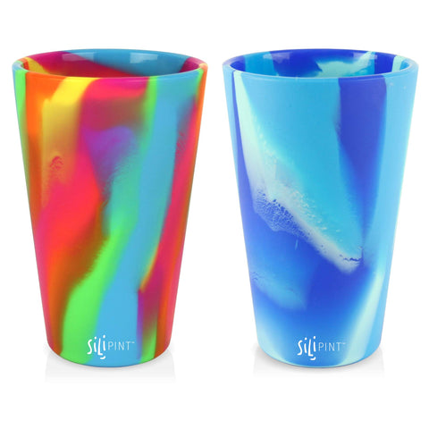 Silipint Silicone Pint Glass Set of 2, Patented, BPA-Free, Shatter-proof, Unbreakable Silicone Cup Drinkware (Hippy Hop & Arctic Sky) 2-Pack Hippy & Arctic