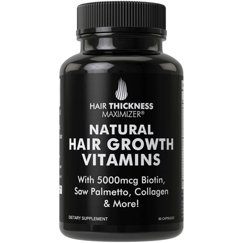 Natural Hair Growth Vitamins by Hair Thickness Maximizer - Hair Regrowth Vitamin Supplement with Biotin 5000 mcg, Collagen, Saw Palmetto. Stop Hair Loss, Get Thicker Hair for Men + Women. Made in USA 1 Pack (90 capsules)
