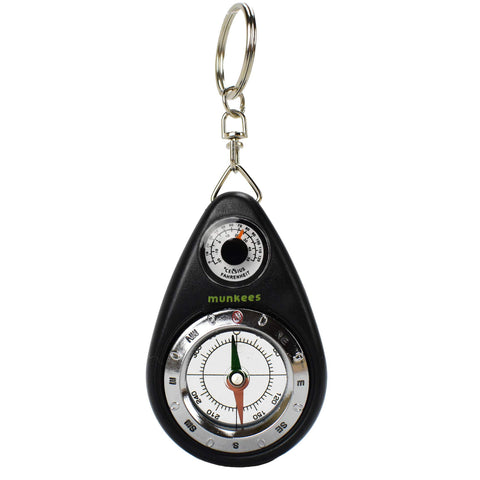 AceCamp Munkees Small Compass and Thermometer Keychain, Mini Pocket-Sized Waterproof Keyring Gear for Camping, Hiking, Backpacking, Survival Tool, Emergency Kit