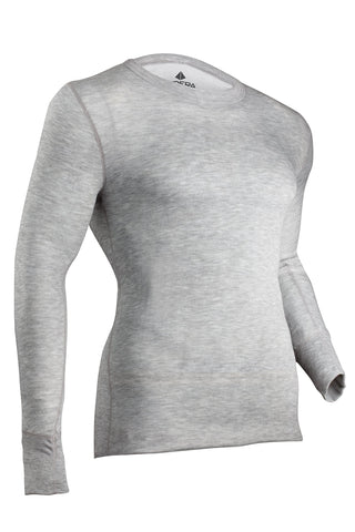 Indera Men's Tall Two-Layer Performance Thermal Underwear Top with Silvadur Heather Grey Large