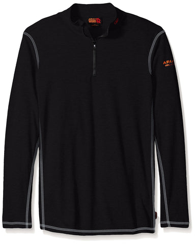Ariat Men's Big and Tall Flame Resistant Polartec 1/4 Zip Baselayer Black XXX-Large