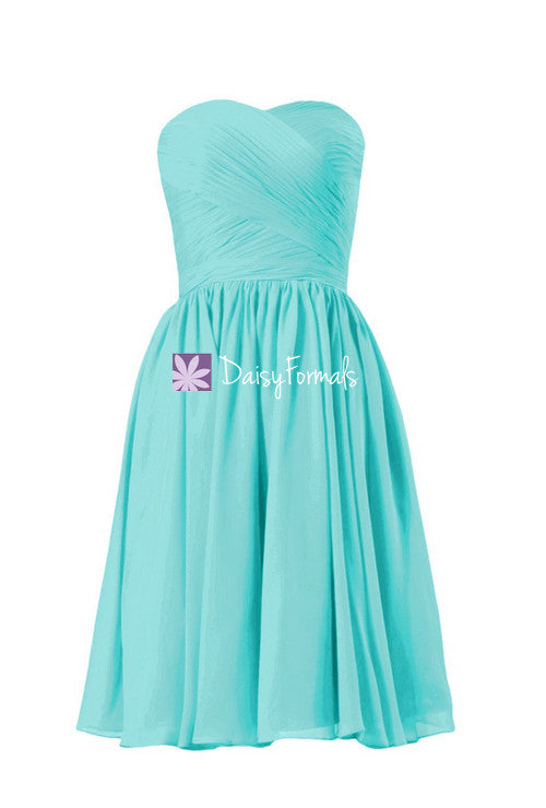 Nice aqua blue online bridesmaids dress short strapless chiffon party dress cocktail dress (bm10824s)