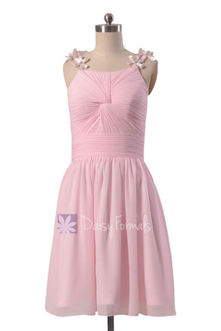 Adorable Pink Chiffon Junior Bridesmaid Dress Knee Length Junior Dress W/Floral Straps(BM1437)
