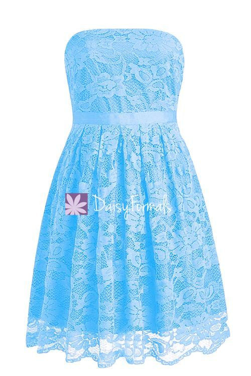 Sea Blue Lace Prom Dress Birthday Party Dress Strapless Lace Bridesmaids Dress (BM2345)
