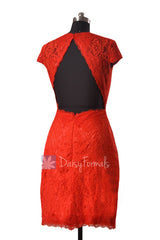 Sheath Lace Party Dress Short Red Lace Bridesmaid Dress W/Cap Sleeves(BM2530)