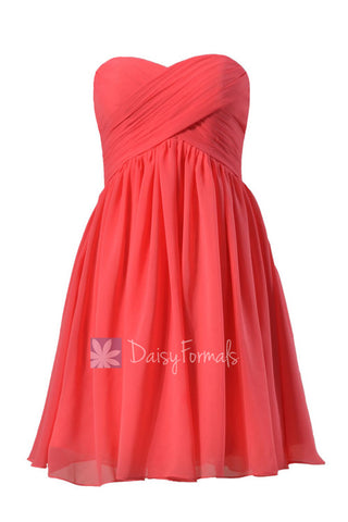 Adorable Cherry Chiffon Dress for Beach Wedding Short Sweetheart Bridesmaid Dress (BM256)