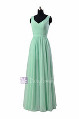 Floor length mint green chiffon bridal party dress v-neck online bridesmaid dresses(bcd3975l)