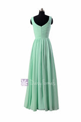 Floor Length Mint Green Chiffon Bridal Party Dress V-Neck Bridesmaid Dress(BCD3975L)