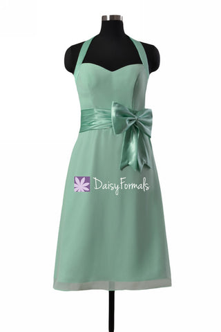 Adorable Mint Green Chiffon Party Dress Halter Neckline Bridesmaids Dress (BM8529)