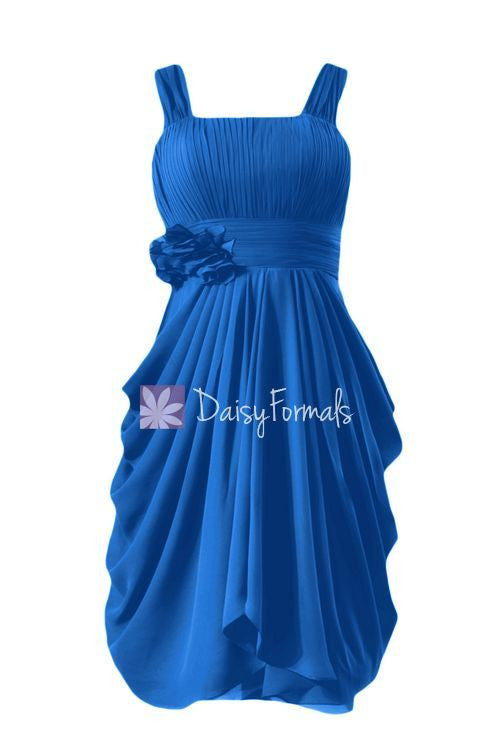 Cobalt Blue Chiffon Party Dress Knee Length Bridesmaids Dress w/Ruffles (BM915)