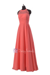 Floor length chiffon bridesmaid dress coral formal dress w/illusion neckline(cst2225l)